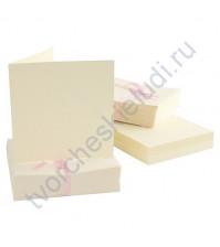 Заготовка для открытки с конвертом 13.5х13.5 см, цвет кремовый, 1 шт