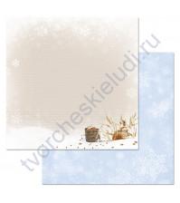 Бумага для скрапбукинга двусторонняя коллекция Снежная клюква, 30.5х30.5 см, 180 гр/м, лист Холща