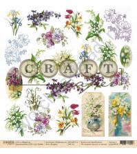 Бумага для скрапбукинга односторонняя коллекция Первоцветы, 30.5х30.5 см, 190 гр/м, лист 8 марта
