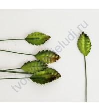 Листья розы зеленые c коричневым кончиком маленькие 2.8 см, 10 шт