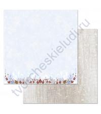 Бумага для скрапбукинга двусторонняя коллекция Снежная клюква, 30.5х30.5 см, 180 гр/м, лист Ягодный бордюр
