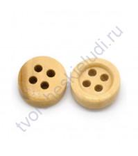 Пуговица деревянная, без покрытия, 9 мм, 4 отверстия, 1 штука