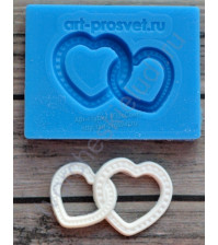 Форма силиконовая (молд) для полимерной глины, Обручальные кольца в виде сердец