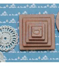 Набор квадратных шейкеров из шпона бука Потешки. Птичка, 5 элементов