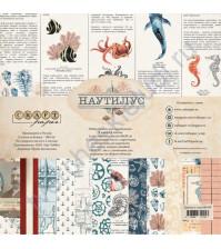 Набор бумаги Наутилус, 20х20 см, 190 гр/м, 6 двусторонних листов + 2 листа с карточками