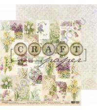 Бумага для скрапбукинга двусторонняя коллекция Первоцветы, 30.5х30.5 см, 190 гр/м, лист Весенние открытки