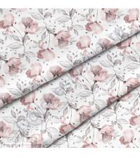 Ткань для рукоделия Цветы акварель розовые, 100% хлопок, плотность 150 гр/м2, размер отреза 50х40 см