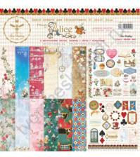 Набор двусторонней бумаги для скрапбукинга Follow the Alice, 30.48х30.48 см, 190 гр/м, в наборе 8 двусторонних листов + лист бонус (оборот обложки)