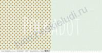 Бумага для скрапбукинга двусторонняя коллекция В горошек, 30.5х30.5 см, 190 гр/м, лист Фисташковый