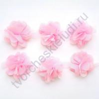 Шифоновые цветы, диаметр 6 см, 1 шт, цвет розовый