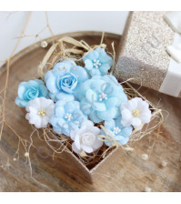 Цветы ручной работы из ткани, 9 шт, цвет бело-голубой микс