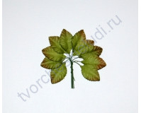 Листья розы зеленые миниатюрные 1.5 см, 10 шт