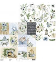 Бумага для скрапбукинга двусторонняя, 30.5х30.5 см, плотность 250 гр/м2, коллекция Snowy Flowers, Лист Карточки и Элементы