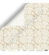 Бумага для скрапбукинга двусторонняя 30.5х30.5 см, 190 гр/м, коллекция Tenderness, лист Кружево