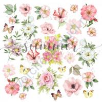 Бумага для скрапбукинга, коллекция Forest story, 20х20 см, 190 гр\м2, лист Flowers splash