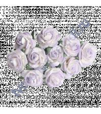 Мини-розочки 1 см, 10 шт, цвет белый с сиреневым