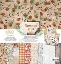 Набор бумаги для скрапбукинга Зимние сны, 30.5х30.5 см, 250 гр/м, 10 двусторонних листов+2 односторонних листа