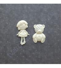 Набор фигурок из пластика Детские игрушки, 2 штуки, цвет молочный