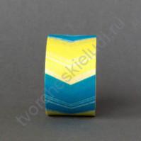 Бумажный скотч с принтом Шеврон, 15ммХ8м, цвет голубой - жёлтый