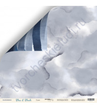Бумага для скрапбукинга двусторонняя 30.5х30.5 см, 190 гр/м, коллекция Blue and Blush, лист Туман