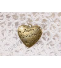 Подвеска металлическая Сердце, 27х27 мм, цвет бронза